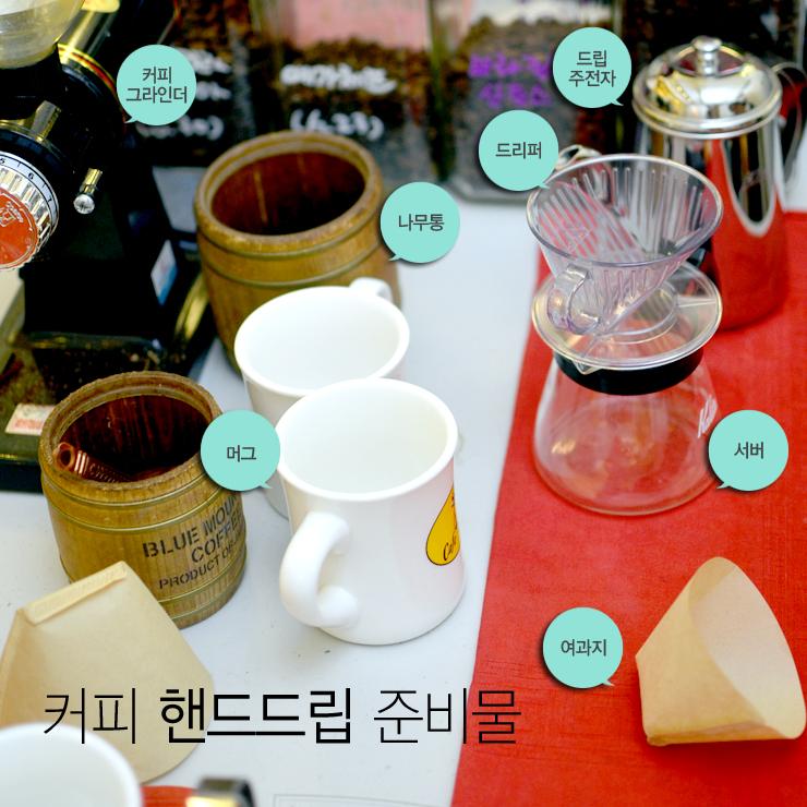 커피 핸드드립 준비물, 커피 그라인더, 나무통, 머그, 드리퍼, 드립주전자, 서버, 여과지